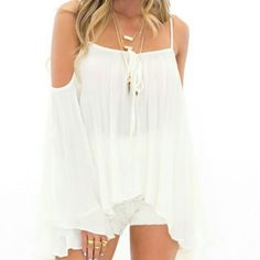 NWOT Boho off the shoulder top Adorable and perfect for summer and the beach! Perfect NWOT condition. Brandy for visibility. Make me an offer! Please no trades. I always ship same day or the next day! Brandy Melville Tops Blouses