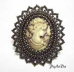 Christmas brooch by puanda on biser.info - glass cabochon with bead-embroidered surround