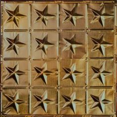 Tin Ceiling & Backsplash Tile Pattern is a star pattern Americana farmhouse style. Ideal for small spaces, low ceilings, backsplashes, & wainscoting. Patterned Tile Backsplash, Metal Ceiling, Gold Ceiling, Wall Covering, Ceiling, Tin, Tin Ceiling, Tin Star, Backsplash Patterns