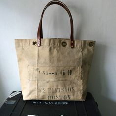 40's USN vintage canvas remake tote bag.  Heavy duty canvas from 40's.   IND_BNP_0136_USN W50.8cm H35cm D16cm Handle53cm