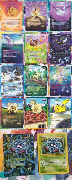 Looking for a unique piece of Poke-art? Each card comes as a one of a kind, hand-painted further insight into the Pokemon's surroundings. A great keepsake or gift for any Pokemon collector and addict! Custom orders also taken upon request!