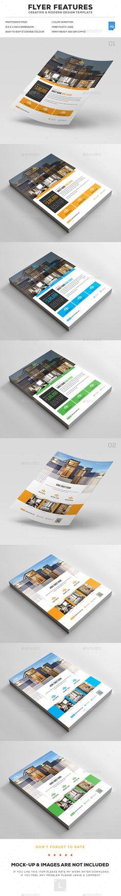 Real Estate Flyer Bundle - #Flyers Print Templates Download here: https://graphicriver.net/item/real-estate-flyer-bundle/17403092?ref=alena994