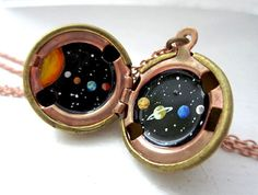 Solar System Locket - Made to Order - Sun & Planets in Outerspace, Original Hand-painted Vintage Jewelry