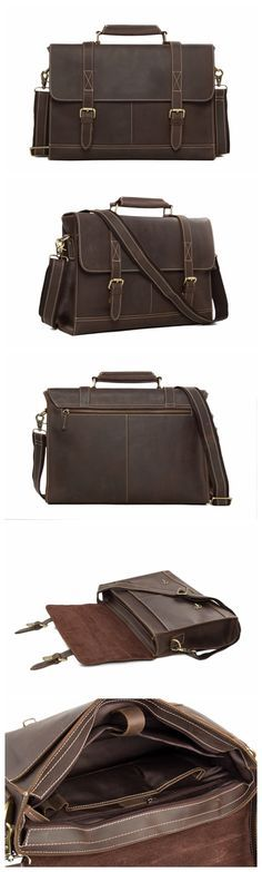0eef8bd124 Business Men s Handmade Leather Briefcase Messenger bag 14 Inch Laptop  Crossobdy Shoulder Bag 6938