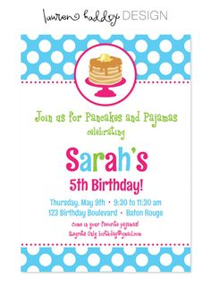 DIY Pancakes and Pajamas INVITATION ONLY by LaurenHaddoxDesign