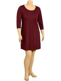Women's Plus 3/4-Sleeve Ponte Dress; w/ black tights, boots, creme scarf