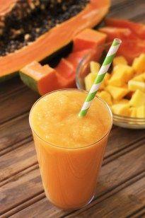 Papaya, Mango, Pineapple Smoothie with Greek Yogurt and Coconut Water *drool drool drool*