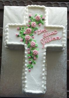 Cross Shaped First Communion Cake  (Marbled cake w/butter cream icing)  4/28/13