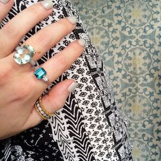 Dealing with a case of the Monday blues in the best way with our Indicolite Tourmaline and Beryl rings  #aotd #blue #rings