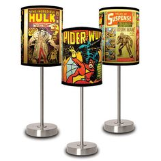 Fab.com | Lamps With Marvel Comics Motifs. http://www.facebook.com/GameRoomSupplyWorld I want the Spider Woman one.