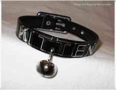 Customizable Kitten Bell Collar  Vegan Black PVC by NecroLeather, $35.00