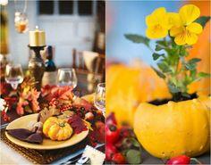 déco de table automnale avec des citrouilles jaunes et feuilles multicolores