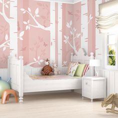 vliestapete fototapete birkenwald mit schmetterlingen. Black Bedroom Furniture Sets. Home Design Ideas