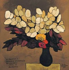Oswaldo Guayasamin  Bouquet of Flowers (signed to Danielle and Francois Mitterand)  1989