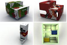 """A chamada """"Flatshare Fridge"""" é um conceito desenvolvido pelo designer Stefan Buchberger, estudante da University of Applied Arts de Viena. A geladeira possui compartimentos isolados, que se despren…"""