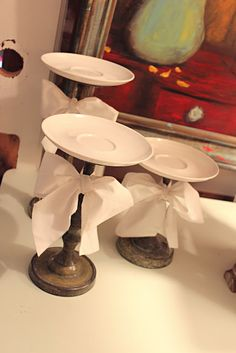 cute display stands for desserts and goodies - instead of the traditional cake stand.  can make the ribbon match the decorating/holiday theme.