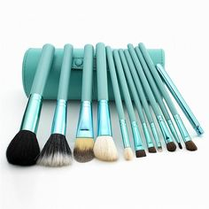Makeup Brush 12PCS Cosmetic Set powder/kabuki/contour brush with Holder make up Brushes Goat Hair #Affiliate