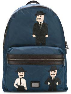 DOLCE & GABBANA 'Vulcano' Sicilian Men Patch Backpack. #dolcegabbana #bags #leather #nylon #backpacks #