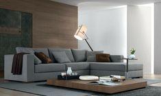 graues sofa braune akzente minimalistischer couchtisch