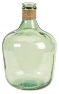 "17"" Courbet Recycled Glass Jug, Green"