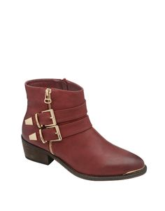 Buckle and Zip Detail Faux Leather Ankle Boots in Burgundy