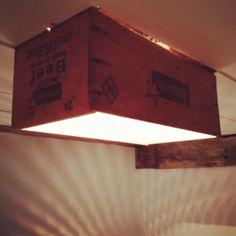 Wood box light fixture