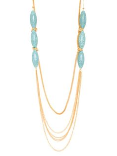Whether you're a beach babe or a Chanel-sporting chick, this necklace is for you. The beautiful turquoise beads and elegant gold chains are perfect for both boardwalk days and Uptown nights.