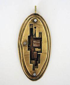 Peter Macchiarini American Pendant, c. 1948 Copper, silver and brass Stamped Macchiarini 3 1/2 x 1 1/2