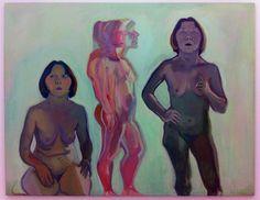 "Maria Lassnig, ""Dreifaches Selbstporträt"" (Triple self portrait"") (1970-72), oil, charcoal on canvas"