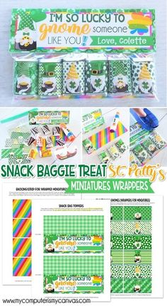 PRINTABLE ST. PATRICK'S DAY TREAT, candygram, candy gram, gift idea, class party st. patty's day GNOME MINIATURE BAR WRAPS {Snack Baggie: ST. PATTY'S DAY} PRINTABLE – #mycomputerismycanvas #gnome #stpatricksday I'M SO LUCKY TO GNOME SOMEONE LIKE YOU Hershey Miniatures, Brochure Paper, Bar Wrappers, Someone Like You, Best Part Of Me, Sticker Paper, Decoration, Small Gifts, Gnomes