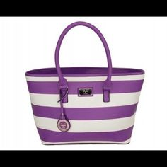 Versace 19V69 Orchid Stripe Beaumaris Tote NWT Versace 19V69 Orchid Stripe Beaumaris Tote.  This is a beautiful purse and will be perfect for Spring!  Bold stripes enhance this tote's sleek structure while double handles offer carrying comfort. A lined interior with a trio of pockets ensures easy organization.   19.25'' W x 11.25'' H x 7'' D 8.5'' handle drop Zip closure Interior: one zip and two slip pockets. Versace 19V69 Bags Totes