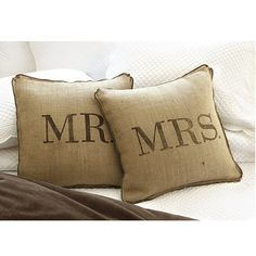 Mr & Mrs Burlap Pillows- Ballard designs Adrianne this is what the pillows are like! Burlap Pillows, Cute Pillows, Decorative Pillows, Throw Pillows, Sewing Pillows, Accent Pillows, Decorative Accents, Mr Mrs, Knock Off Decor