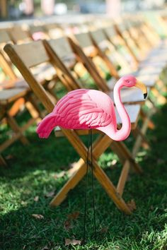 Awesome pink FLAMINGO aisle decoration - Los Angeles Wedding from Sarah K Chen Photography