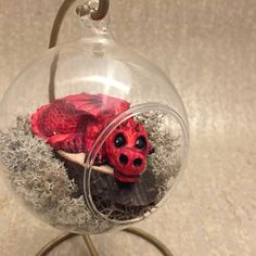 Baby Dragon in Orb, Red Dragon, Dragon in Nest, Dragon Gift, Red Dragon Ornament, Red Dragon in Glass Orb, Dragon collectable, dragon fan