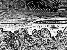 My print of waterfoot beach...(black mono print)