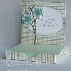 Studio at the Lake: Thurs. 2012 Post it Note Holder with tutorial 3d Paper Crafts, Paper Gifts, Post It Note Holders, Craft Show Ideas, Card Tutorials, Home And Deco, Note Cards, Crafts To Make, Cardmaking