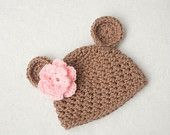 Brown Bear With Pink Flower Textured Crochet Photo Prop Hat Newborn to Toddler