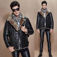 Black Sheepskin Leather Lamb Fur Fitted Dress Puff Coats for Men SKU-116286