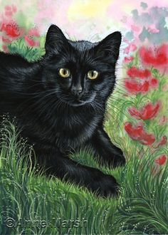 BLACK-CAT-POPPY-GARDEN-PRINT-PAINTING-ANNE-MARSH-ART