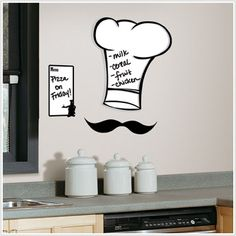 Chef Hat Dry Erase Giant Wall Decal - Very cute!