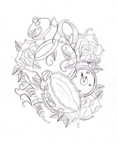 """Tea pot, tea cup, pocket watch, roses, and """"Tea time"""" by nevermore-ink @deviantART. #design"""