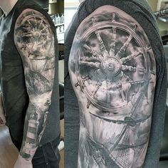Ship Wheel Nautical Full Sleeve Tattoo On Gentleman