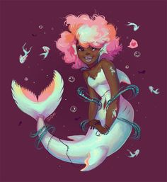 Quick art of a happy mermaid just for the sake of drawing a happy mermaid