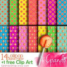 Lollipop Digital Paper watercolor