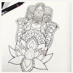 Tattoo Design • The Hamsa Hand • Lotus Flower