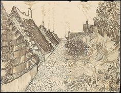 Street in Saintes-Maries-de-la-Mer Vincent van Gogh (Dutch, Zundert Auvers-sur-Oise) Date: ca. July 1888 Medium: Reed pen, quill, and ink over chalk on wove paper (backed with wove paper) Dimensions: sheet: 9 x 12 in. Vincent Van Gogh, Van Gogh Drawings, Van Gogh Paintings, Ink Drawings, Desenhos Van Gogh, Van Gogh Arte, Van Gogh Pinturas, Van Gogh Landscapes, Atelier D Art