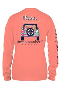 c713c71ba7 Simply Southern Preppy Collection Besties Long Sleeve T-Shirt for Women in  Sunglow