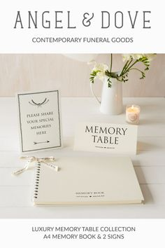 Luxury Ivory Memory Book & 2 Sign Set for Funeral Memory Table Guest Book Table, Guest Book Sign, Funeral Posters, Funeral Guest Book, Life Table, Welcome Photos, Funeral Thank You, Retirement Party Decorations, Memory Table