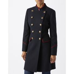 Monsoon Dhalia Military Coat ($228) ❤ liked on Polyvore featuring outerwear, coats, wool blend coat, field coat, double breasted wool blend coat, military style coat and wool blend military coat