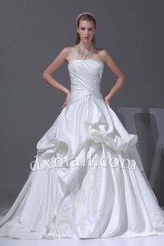Pick Up Wedding Dresses Strapless Court Train Satin Ivory 01001090020